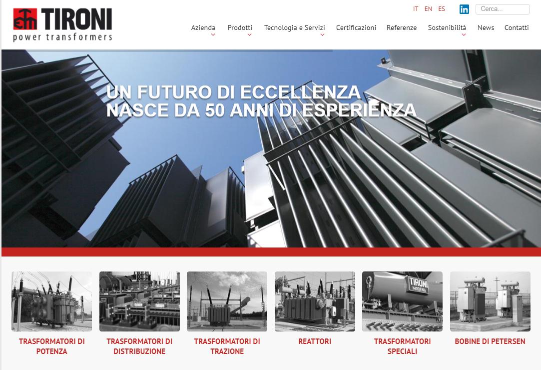 Online il nuovo sito web di elettromeccanica tironi for Ufficio design italia srl via emilia est modena mo